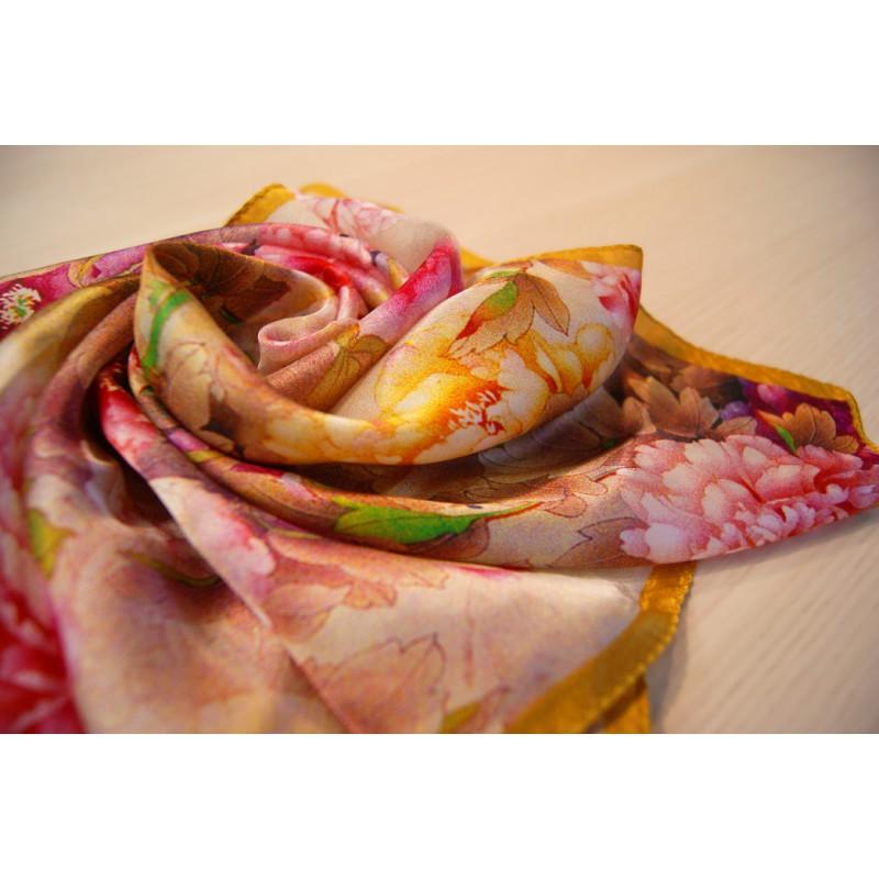 """Шелковый платок """"Осенние цветы"""""""